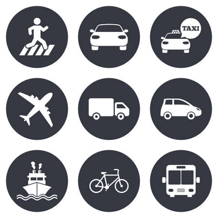 Transport icons. Car, bike, bus and taxi signs. Shipping delivery, pedestrian crossing symbols. Gray flat circle buttons. Vector