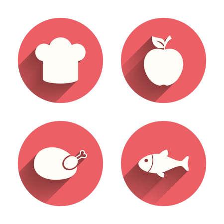 chef: Iconos del alimento. Fruta de Apple con el símbolo de la hoja. Gallina del pollo signo de la carne de aves. Pescado y sombrero de chef iconos. Círculos rosados ??botones planos con sombra. Vector Vectores