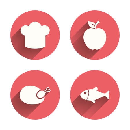 Food icons. Apple fruit with leaf symbol. Chicken hen bird meat sign. Fish and Chef hat icons. Pink circles flat buttons with shadow. Vector Illustration