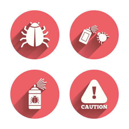 insanitary: Bug disinfection icons. Caution attention symbol. Insect fumigation spray sign. Pink circles flat buttons with shadow. Vector