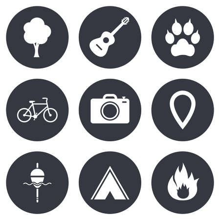 clutches: Tourism, camping icons. Fishing, fire and bike signs. Guitar music, photo camera and paw with clutches. Gray flat circle buttons. Vector Illustration