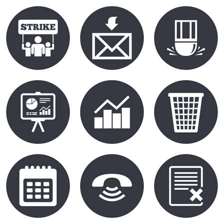 office documents: Office, documents and business icons. Call, strike and calendar signs. Mail, presentation and charts symbols. Gray flat circle buttons. Vector