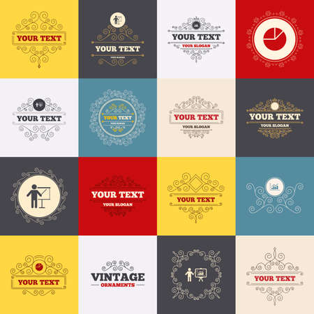 demand: Vintage frames, labels. Diagram graph Pie chart icon. Presentation billboard symbol. Supply and demand. Man standing with pointer. Scroll elements. Vector