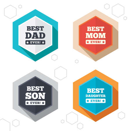 dad and son: Hexagon buttons. Best mom and dad, son and daughter icons. Awards with exclamation mark symbols. Labels with shadow. Vector