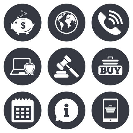 auction: Online shopping, e-commerce and business icons. Auction, phone call and information signs. Piggy bank, calendar and smartphone symbols. Gray flat circle buttons. Vector