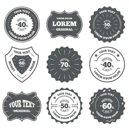 50 to 60: Vintage emblems, labels. Sale discount icons. Special offer stamp price signs. 40, 50, 60 and 70 percent off reduction symbols. Design elements. Vector Illustration