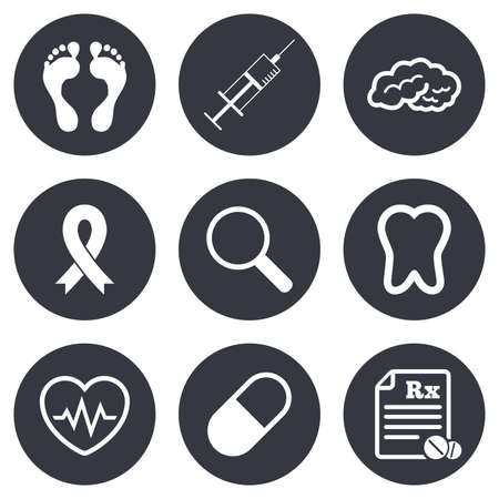 cancer foot: Medicine, medical health and diagnosis icons. Syringe injection, heartbeat and pills signs. Tooth, neurology symbols. Gray flat circle buttons. Vector
