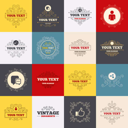 chat up: Vintage frames, labels. Social media icons. Chat speech bubble and Share link symbols. Like thumb up finger sign. Human person profile. Scroll elements. Vector