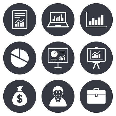 business case: Statistics, accounting icons. Charts, presentation and pie chart signs. Analysis, report and business case symbols. Gray flat circle buttons. Vector Illustration