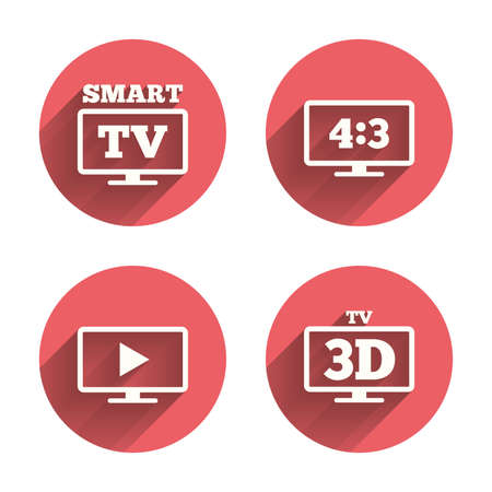 3d mode: Smart TV mode icon. Aspect ratio 4:3 widescreen symbol. 3D Television sign. Pink circles flat buttons with shadow. Vector