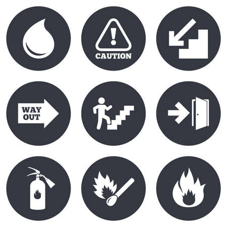 emergency attention: Fire safety, emergency icons. Fire extinguisher, exit and attention signs. Caution, water drop and way out symbols. Gray flat circle buttons. Vector