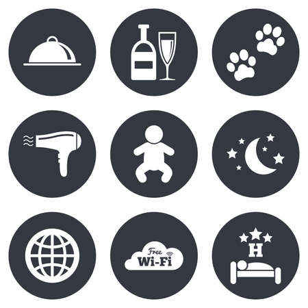 pets background: Hotel, apartment service icons. Restaurant sign. Alcohol drinks, wi-fi internet and sleep symbols. Gray flat circle buttons. Vector
