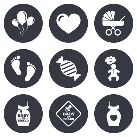 newborn footprint: Pregnancy, maternity and baby care icons. Newborn, strollers and pacifier signs. Footprint, candy and love symbols. Gray flat circle buttons. Vector Illustration