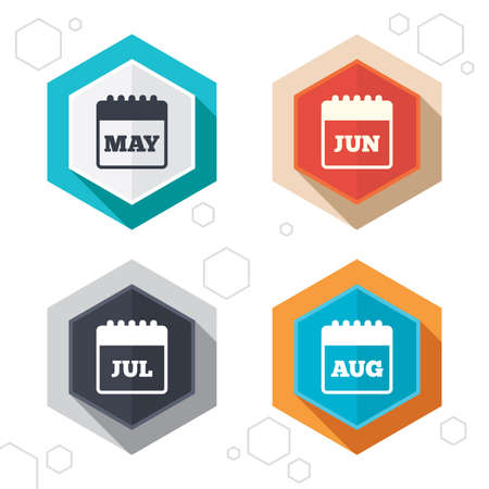 calendar page: Hexagon buttons. Calendar icons. May, June, July and August month symbols. Date or event reminder sign. Labels with shadow. Vector Illustration