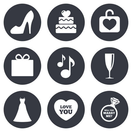 fiance: Wedding, engagement icons. Cake with heart, gift box and brilliant signs. Dress, shoes and musical notes symbols. Gray flat circle buttons. Vector