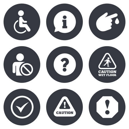 personne handicap�e: Attention notification icons. Question mark and information signs. Injury and disabled person symbols. Gray flat circle buttons. Vector