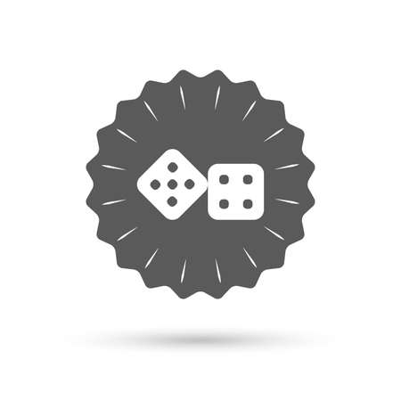 token: Vintage emblem medal. Dices sign icon. Casino game symbol. Classic flat icon. Vector Illustration