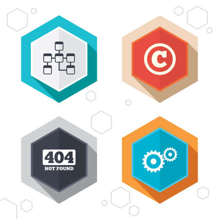 copyrights: Hexagon buttons. Website database icon. Copyrights and gear signs. 404 page not found symbol. Under construction. Labels with shadow. Vector