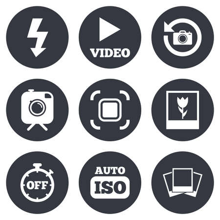 auto focus: Photo, video icons. Camera, photos and frame signs. Flash, timer and macro symbols. Gray flat circle buttons. Vector
