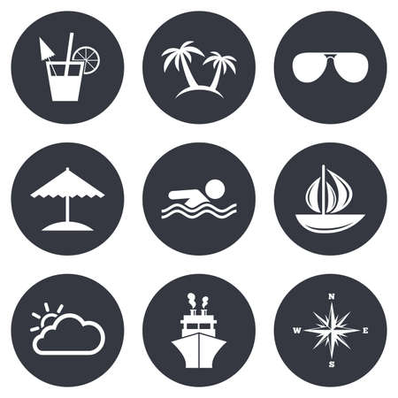 rose tree: Cruise trip, ship and yacht icons. Travel, cocktails and palm trees signs. Sunglasses, windrose and swimming symbols. Gray flat circle buttons. Vector Illustration