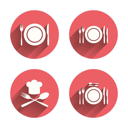 etiquette: Plate dish with forks and knifes icons. Chief hat sign. Crosswise cutlery symbol. Dining etiquette. Pink circles flat buttons with shadow. Vector