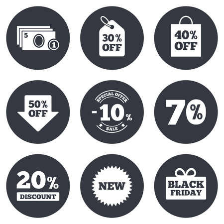 discount buttons: Sale discounts icon. Shopping, black friday and cash money signs. 10, 20, 50 and 70 percent off. Special offer symbols. Gray flat circle buttons. Vector