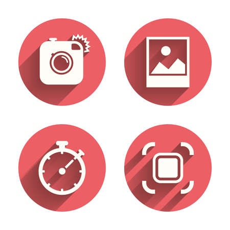 autofocus: Hipster retro photo camera icon. Autofocus zone symbol. Stopwatch timer sign. Landscape photo frame. Pink circles flat buttons with shadow. Vector
