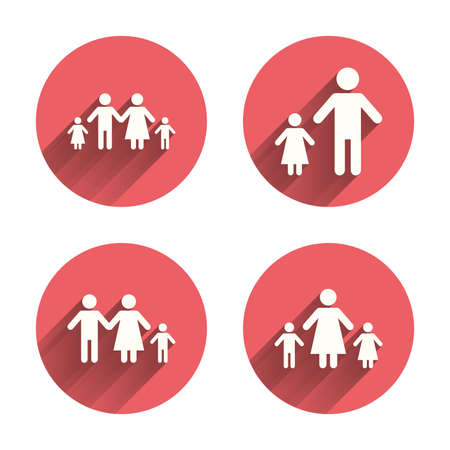 one parent: Family with two children icon. Parents and kids symbols. One-parent family signs. Mother and father divorce. Pink circles flat buttons with shadow. Vector Illustration