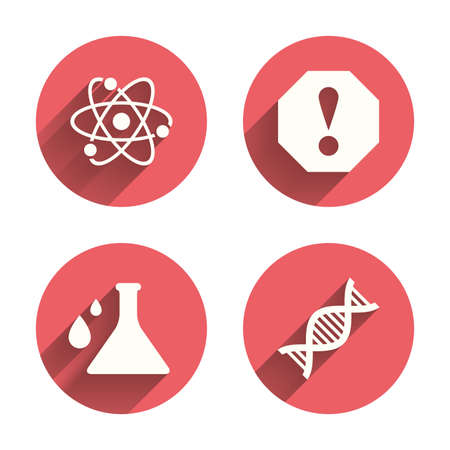deoxyribonucleic: Attention and DNA icons. Chemistry flask sign. Atom symbol. Pink circles flat buttons with shadow. Vector