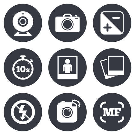 web camera: Photo, video icons. Web camera, photos and frame signs. No flash, timer and portrait symbols. Gray flat circle buttons. Vector