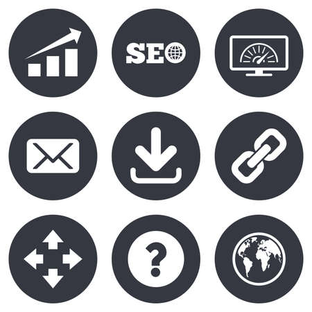 bandwidth: Internet, seo icons. Bandwidth speed, download arrow and mail signs. Hyperlink, monitoring symbols. Gray flat circle buttons. Vector
