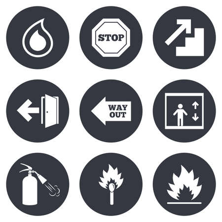burn out: Fire safety, emergency icons. Fire extinguisher, exit and stop signs. Elevator, water drop and match symbols. Gray flat circle buttons. Vector Illustration