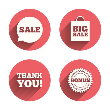 you are special: Sale speech bubble icon. Thank you symbol. Bonus star circle sign. Big sale shopping bag. Pink circles flat buttons with shadow. Vector
