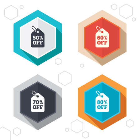 50 to 60: Hexagon buttons. Sale price tag icons. Discount special offer symbols. 50%, 60%, 70% and 80% percent off signs. Labels with shadow. Vector