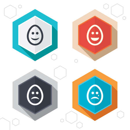 pasch: Hexagon buttons. Eggs happy and sad faces icons. Crying smiley with tear symbols. Tradition Easter Pasch signs. Labels with shadow. Vector