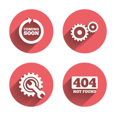 icon buttons: Coming soon rotate arrow icon. Repair service tool and gear symbols. Wrench sign. 404 Not found. Pink circles flat buttons with shadow. Vector