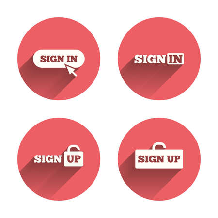 button icon: Sign in icons. Login with arrow, hand pointer symbols. Website or App navigation signs. Sign up locker. Pink circles flat buttons with shadow. Vector