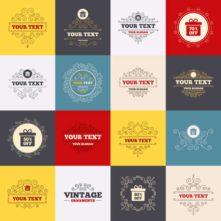 50 to 60: Vintage frames, labels. Sale gift box tag icons. Discount special offer symbols. 50%, 60%, 70% and 80% percent off signs. Scroll elements. Vector