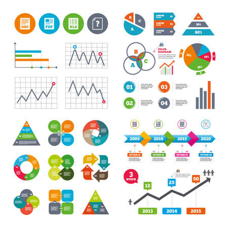 Business data pie charts graphs. File document and question icons. XLS, PDF and DOC file symbols. Download or save doc signs. Market report presentation. Vector