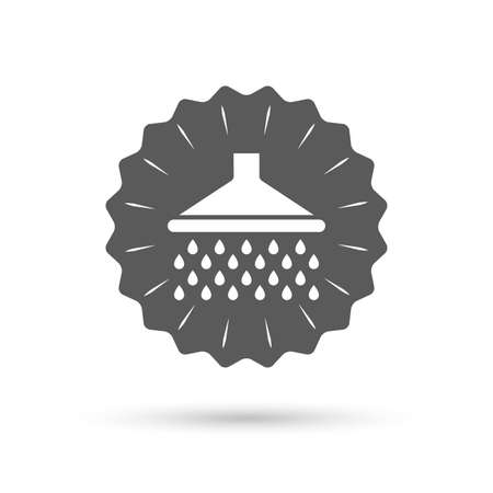 Vintage emblem medal. Shower sign icon. Douche with water drops symbol. Classic flat icon. Vector
