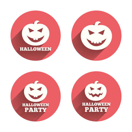 celebration party: Halloween pumpkin icons. Halloween party sign symbol. All Hallows Day celebration. Pink circles flat buttons with shadow. Vector
