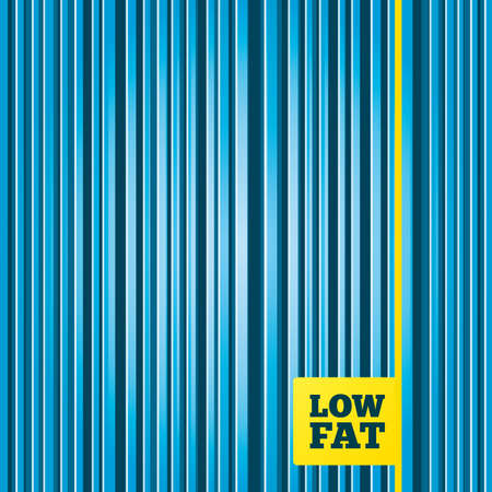 lowfat: Lines blue background. Low fat sign icon. Salt, sugar food symbol. Yellow tag label. Vector