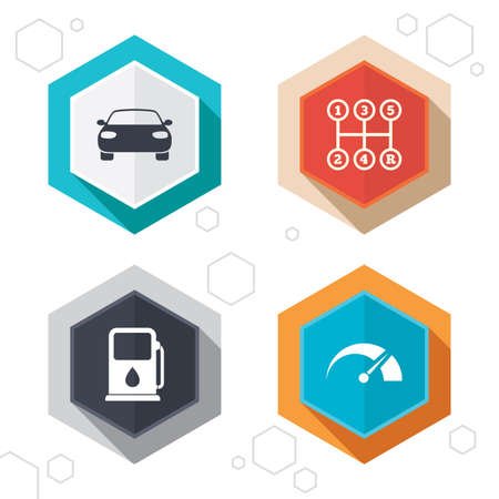 tacometro: Hexagon buttons. Transport icons. Car tachometer and manual transmission symbols. Petrol or Gas station sign. Labels with shadow. Vector