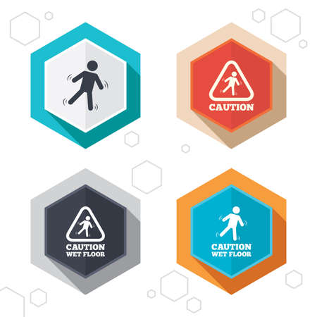 wet floor caution sign: Hexagon buttons. Caution wet floor icons. Human falling triangle symbol. Slippery surface sign. Labels with shadow. Vector