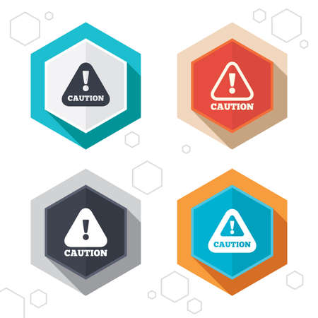 warning: Hexagon buttons. Attention caution icons. Hazard warning symbols. Exclamation sign. Labels with shadow. Vector