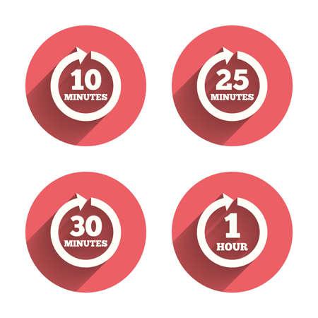 すべての 10、25、30 分や 1 時間アイコン。回転矢印記号。反復的なプロセスの兆候。ピンクの円の影とフラットなボタン。ベクトル  イラスト・ベクター素材