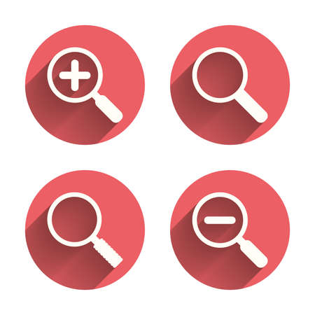 closer: Magnifier glass icons. Plus and minus zoom tool symbols. Search information signs. Pink circles flat buttons with shadow. Vector