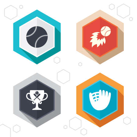 crosswise: Hexagon buttons. Baseball sport icons. Ball with glove and two crosswise bats signs. Fireball with award cup symbol. Labels with shadow. Vector