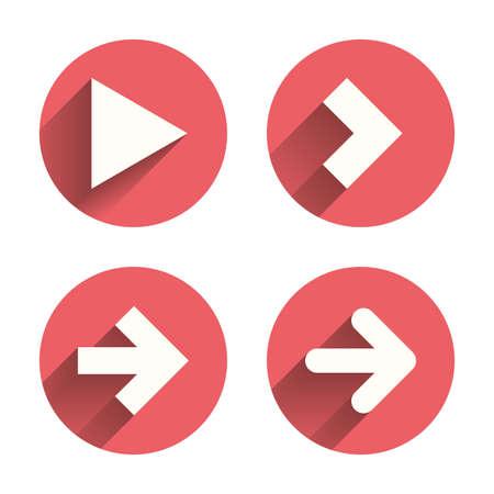 아이콘 화살표. 다음 탐색 화살표 표지판입니다. 방향 기호. 핑크 원 그림자와 평평한 버튼. 벡터