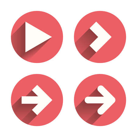 button set: Arrow icons. Next navigation arrowhead signs. Direction symbols. Pink circles flat buttons with shadow. Vector Illustration